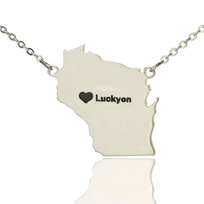 925 Silver Personalized Wisconsin State Shaped Necklaces Custom America State Map Necklaces Charm State Necklaces
