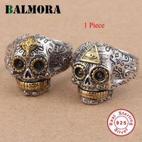 BALMORA 1 Piece 100 Real Pure 925 Sterling Silver Jewelry Vintage Skull Open Silver Rings For