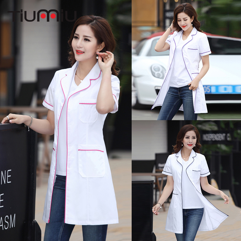 New Arrival Hospital Clinic Doctor's Clothing Long Short Sleeve Medical Clothes Beauty Salon V-neck White Lab Coat Nurse Uniform