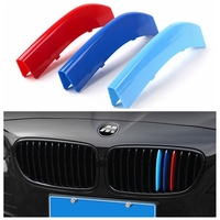 3D M Styling Car Front Grille Trim Sport Strips Cover Motorsport Power Stickers For BMW 3