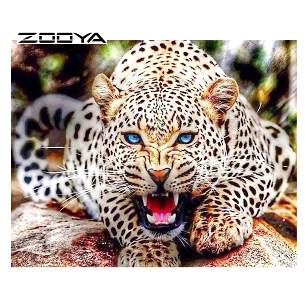 ZOOYA DIY Berlian Lukisan Cross Stitch Kit 3D Set Untuk Bordir Berlian Bordir Cross-Stitch Menjahit Leopard BB414