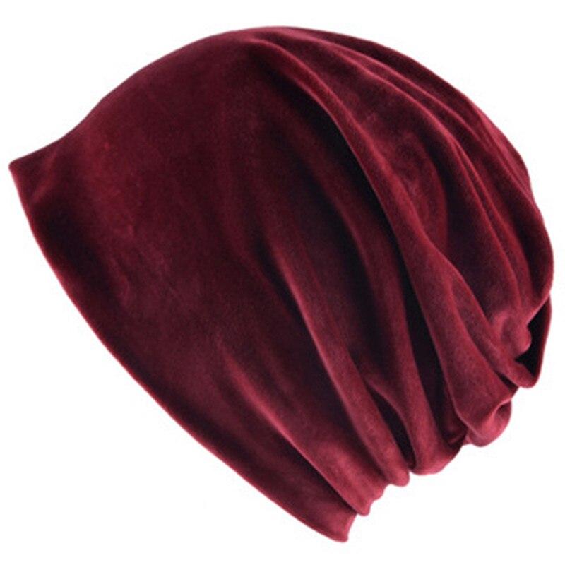Multi-function women men summer thin   skullies     beanies   soft velvet turban hat red white girls head Bonnet warm scarf skate cap