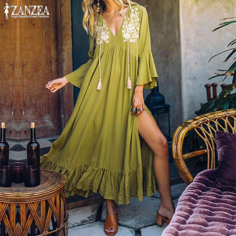 Women's Ruffle Sundress 2019 ZANZEA Bohemian Print Dress Sexy V Neck Split Maxi Vestidos Female Flare Sleeve Tunic Robe Femme