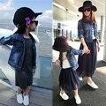 Семья мода весна и осень с длинными рукавами 2016 модно джинсовой верхняя одежда матери и ребенка одежду для матери и дочери