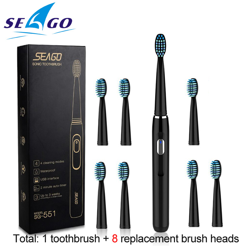 Seago Sonic Rechargeable Electric Toothbrush with 3 Replacement Brush Heads 2 Minutes Timer & 4 Brushing Modes Waterproof SG551 image