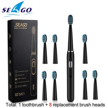 Sonic Seago elektryczna szczoteczka do zębów do ładowania z 3 wymienne główki do szczoteczki 2 minutnik i 4 trybów szczotkowania wodoodporna SG551 tanie i dobre opinie Dorosłych 222*25 5*25 5MM Elektryczne szczoteczki do zębów Fala akustyczna ABS TPE 3000 Black White IPX6(full body waterproof)