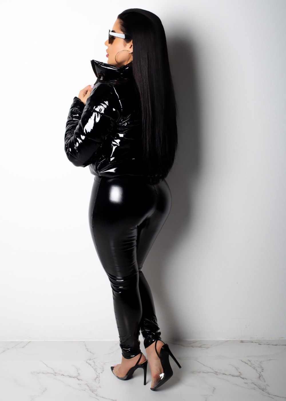 JRRY Sexy Velvet PU Leather Coats Jackets Cotton Fake Leather Women Jacket Zippers Turn Down Collar Overcoat Plus Size XXXL