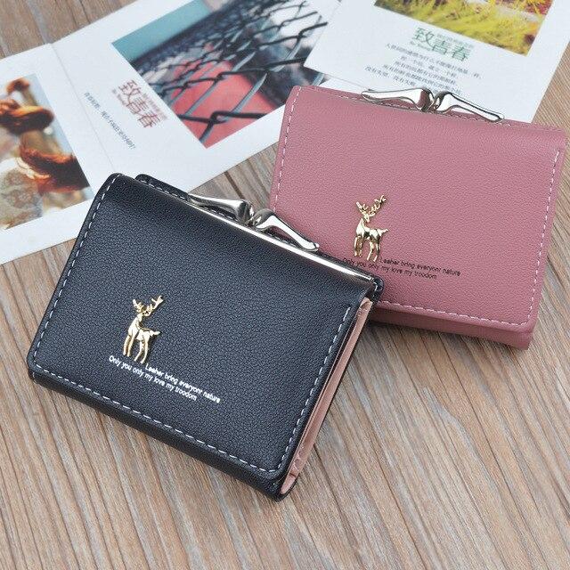 44a38a5817a0 Роскошный брендовый женский кожаный кошелек маленькие короткие милые  кошельки женский розовый кошелек для монет клатч сумки