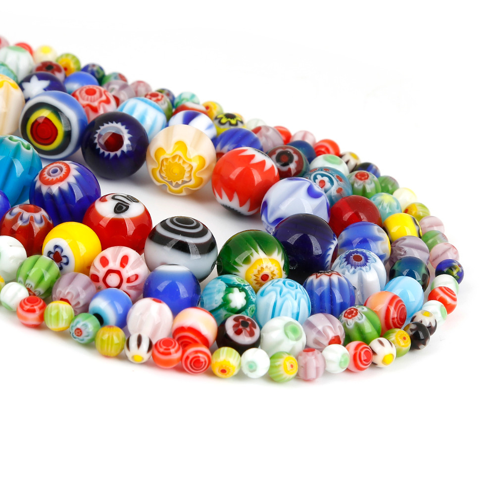 Size 4MM 6MM 8MM 10MM Beads Mixed Color Millefiori Flower Lampwork Glass Round Spacer Beads For Jewelry Making DIY Kids Gifts(China)