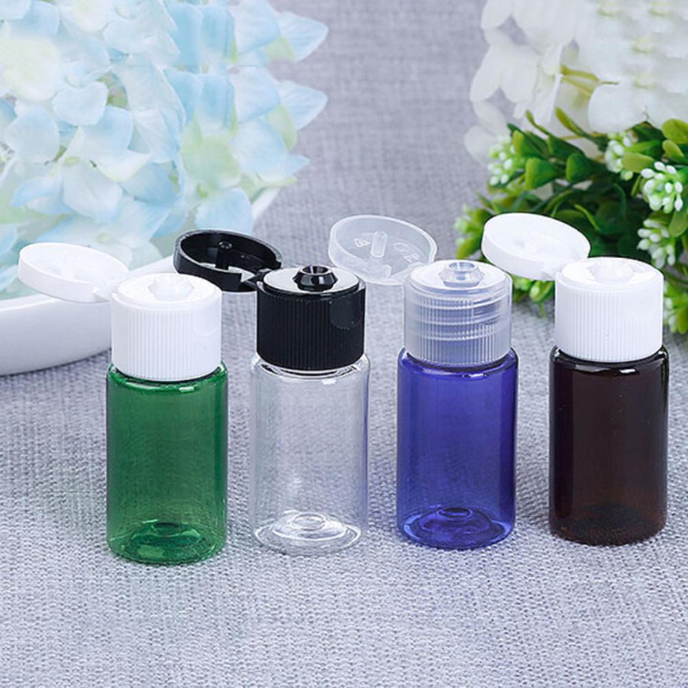 10Pcs 10ml Mini Plastic Cosmetic Empty Bottle with Flip Cap Essential Oil Cream Sample Packaging Container Bottles