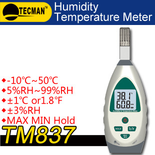 TECMAN TM837 Temperature and humidity meter tester measuring instrument Professional -10~50C +/-1C RH 5% ~99% RH+/-5% digital indoor air quality carbon dioxide meter temperature rh humidity twa stel display 99 points made in taiwan co2 monitor