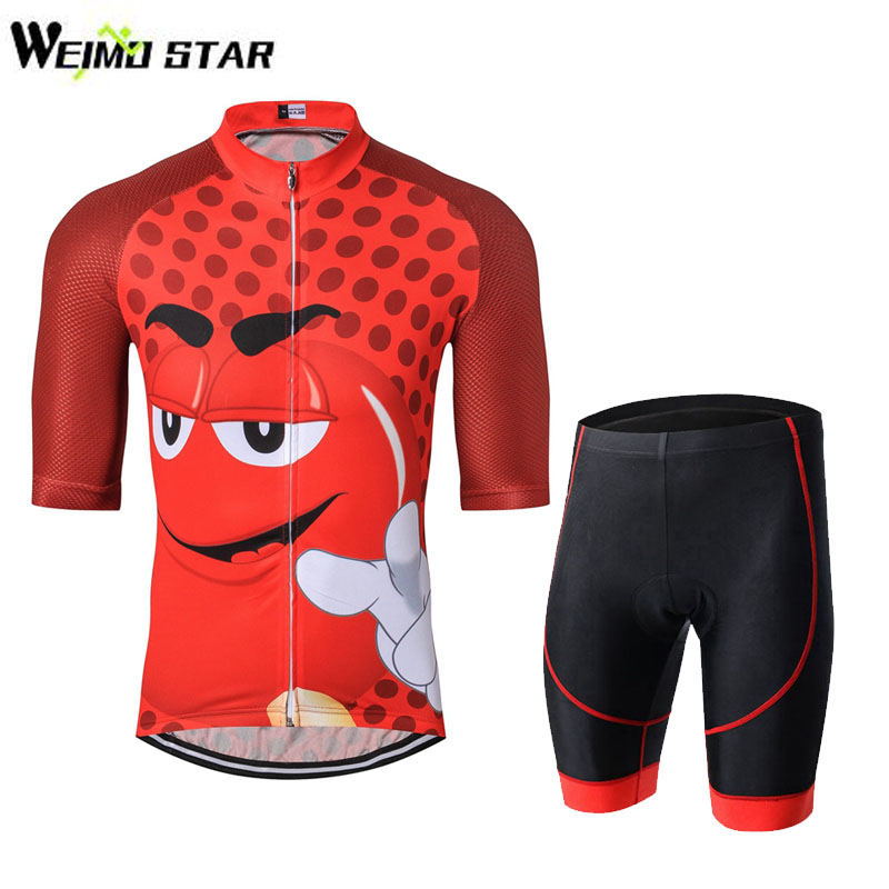 2017 Men New Cartoon Cycling Jersey Short Sleeve Clothing Riding Bike Wear  Classic Team Clothing GEL Padded Shorts Sets 7177ffca0