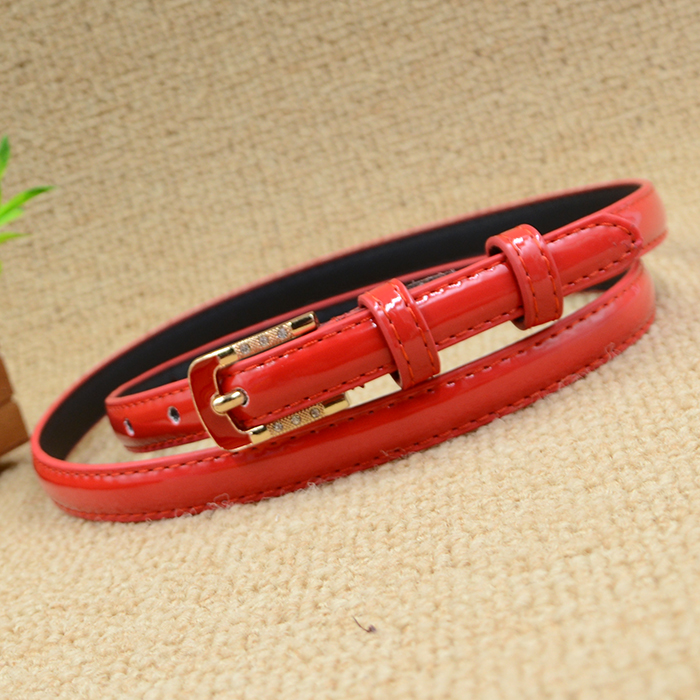 Women's Strap Red Women Oil Thin All-match Belt Waist Of Trousers Belt Female
