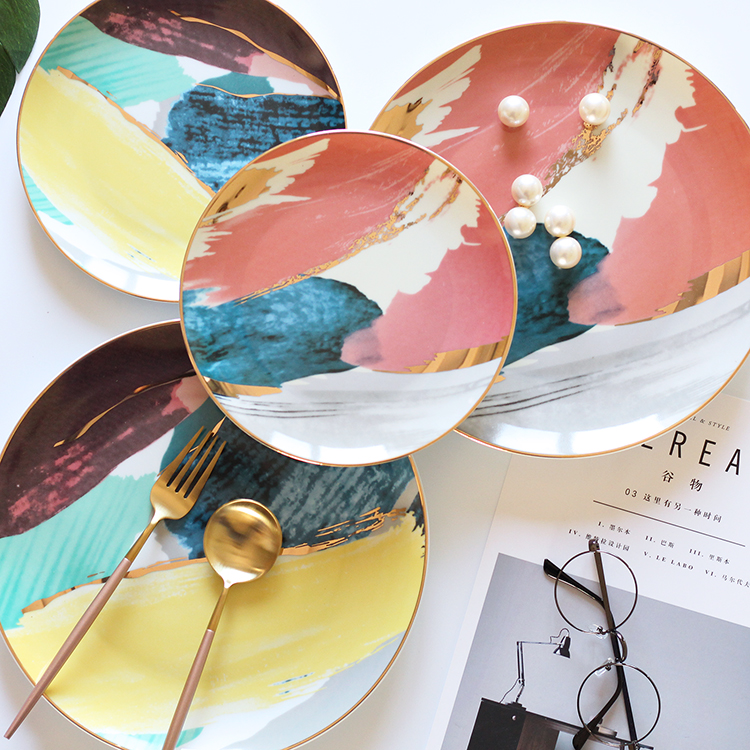 Nordic gold cloud dish plate painting breakfast tray dessert fruit dish wedding banquet set Home Furnishing decorative plate
