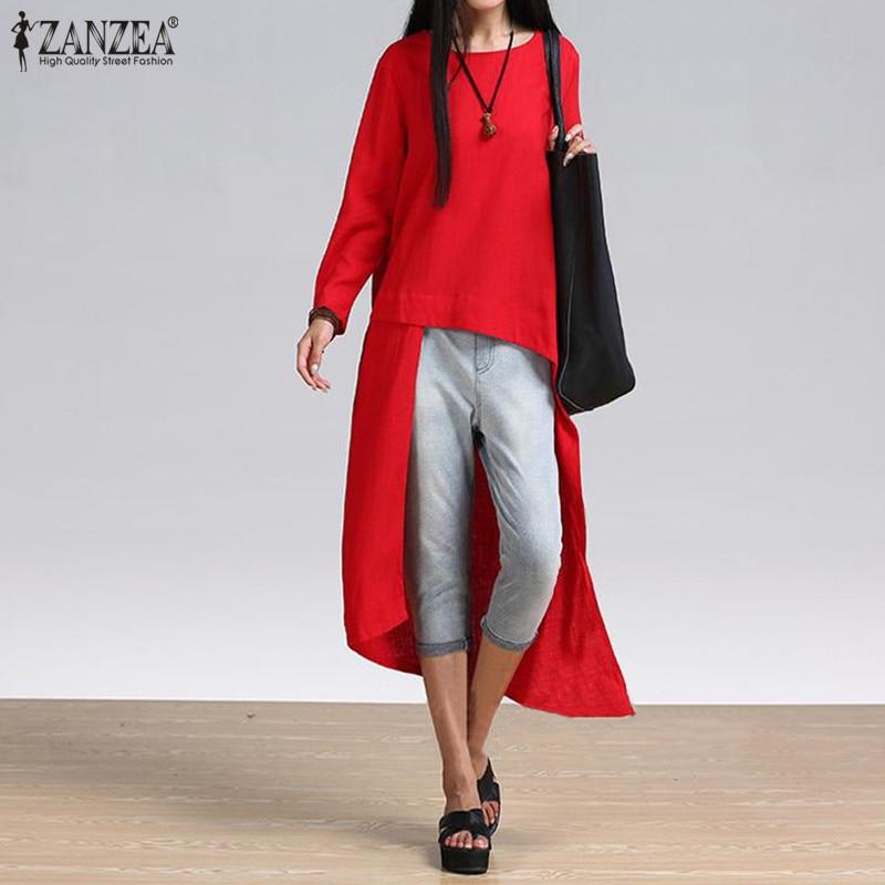 ZANZEA Women Vintage T-Shirts Long Sleeve Asymmetrical Oversized Top Loose Casual Party Long Tshirt Ladies Clothes Plus Size 5XL