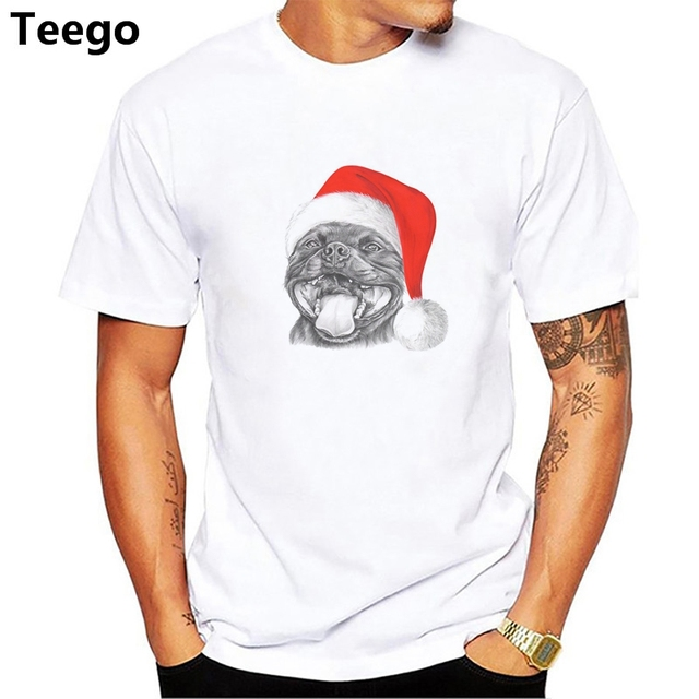 0ceadab4 Tee Staffie Smile Christmas Staffordshire Bull Terrier Dog Funny BULLY Men's  100% Cotton Short Sleeve T-Shirt Men Male T Shirt