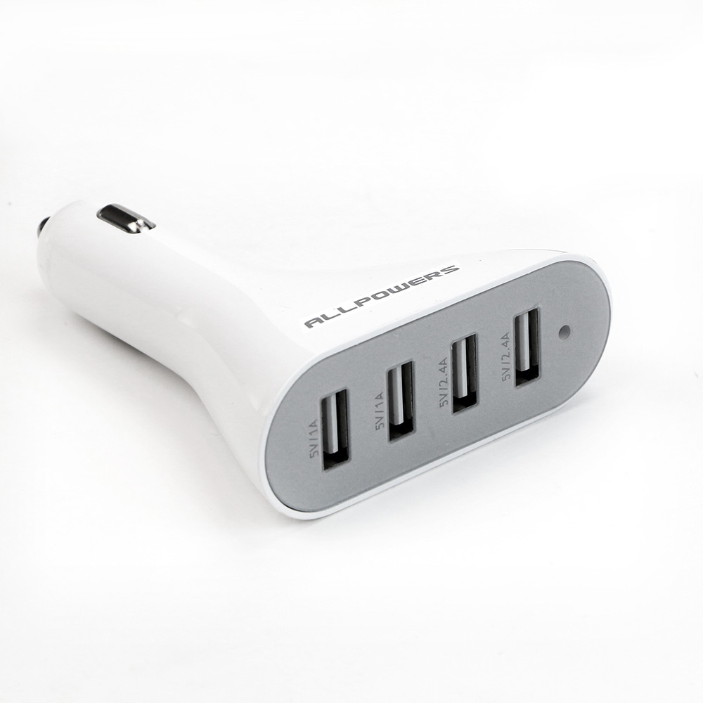 Colored usb car charger - Allpowers Portable Car Charger 4 Usb Output Ports Classic White Color Mini Car Phone Charger