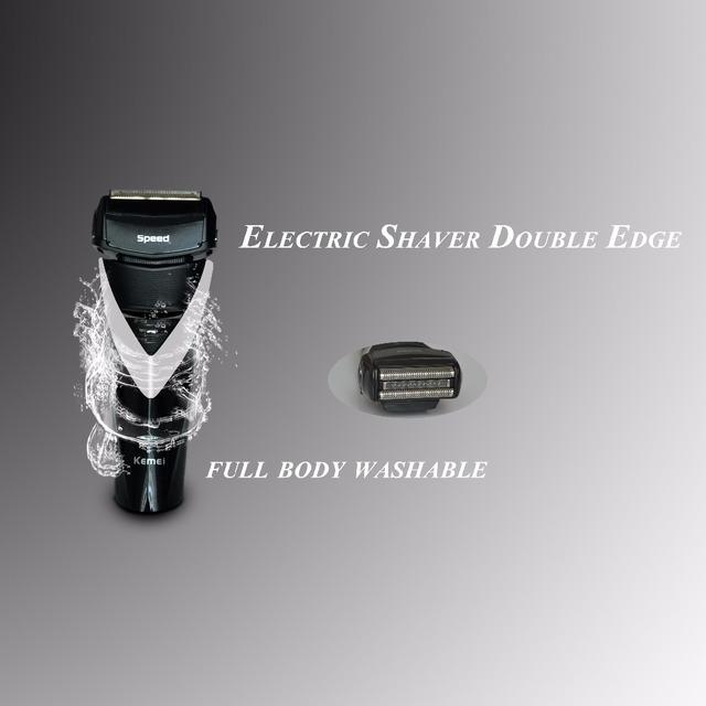 Oscilante máquina de afeitar eléctrica Recargable afeitadora tres hombres cuerpo flotante navaja de afeitar la cabeza de lavado