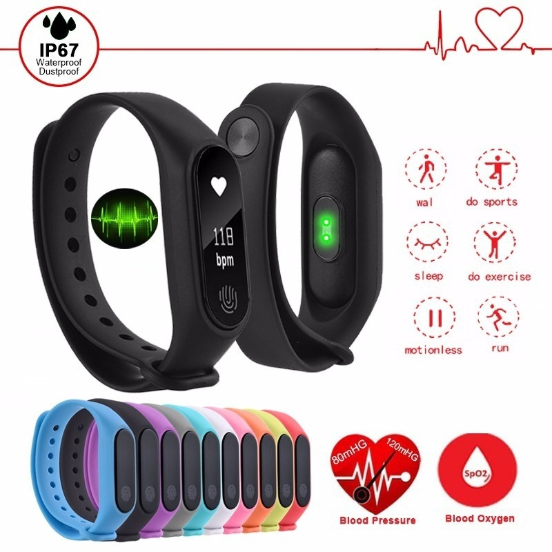 M2 Smart Wristband Running Sport Fitness Watch Sleep Monitor Intelligent Smart Bracelet OLED Touchpad Heart Rate Monitor