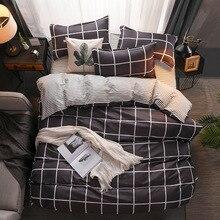 古典的な寝具セット 5 サイズグレーブルーのチェック柄夏ベッドリネン 4 ピース/セット布団カバーセット牧歌ベッドシートabサイド布団カバー 2020