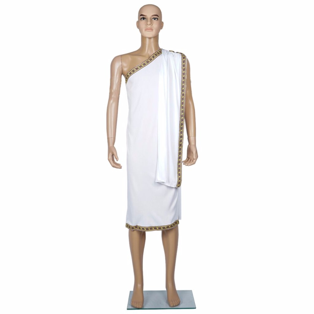 Caesar Costume Men Toga Greek Cosplay Pharaoh Costumes Halloween Party White Outfits King Emperor of Rome for Adult Male