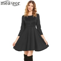 Meaneor Women Casual Dress 2018 Spring New Arrival O Neck 3 4 Sleeve Split Cuffs A