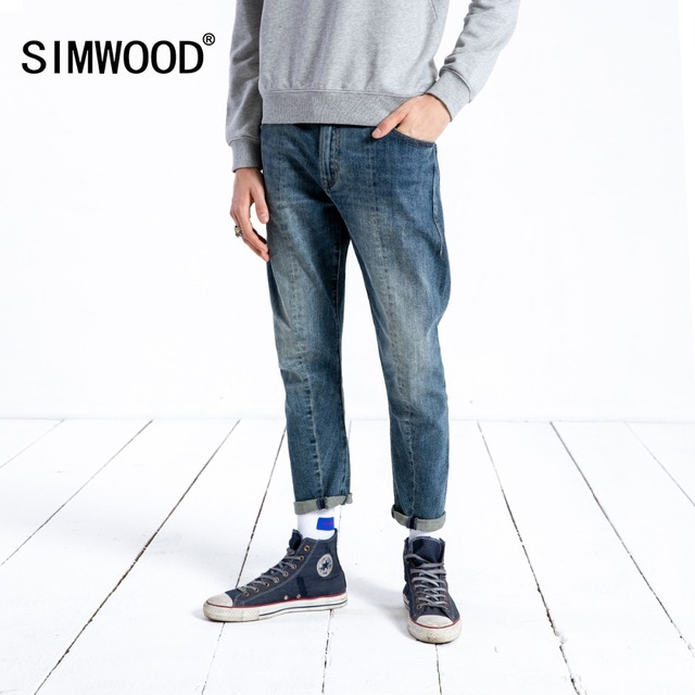 ea0859873e860 SIMWOOD Brand Jeans Men Fashion Casual Spring Ankle Length Slim Fit Draping  Denim Trousers High Quality