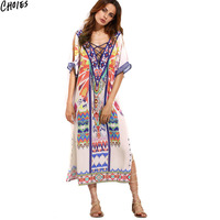 Multicolor Folk Tribal Print Lace Up Lattice Front Side Split Midi Beach Dress Women Half Sleeve