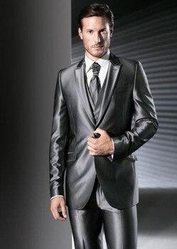 New Arrival Groom Tuxedo Shiny Gray Groomsmen Peak Lapel Wedding/Dinner Suits Best Man Bridegroom (Jacket+Pants+Tie+Vest) B522