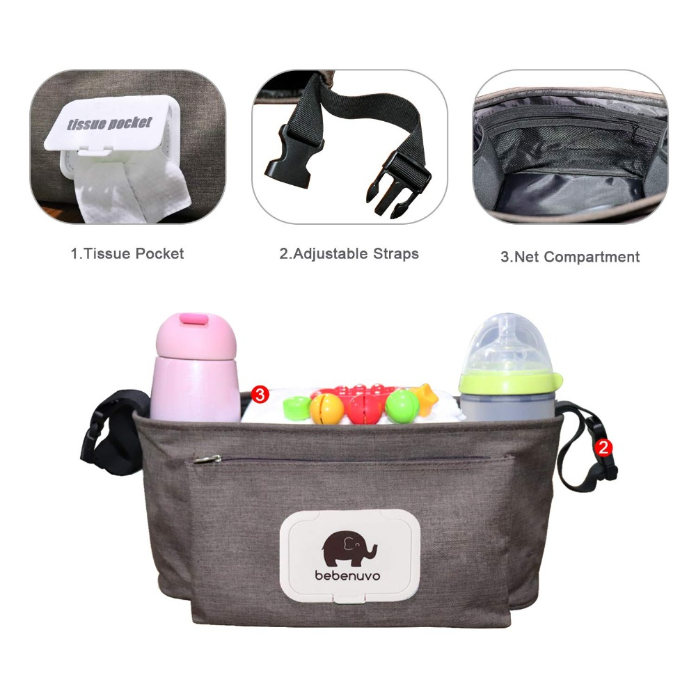 Baby Stroller Organizer Bag with Tissue Pocket and Cup Holders Extra Large Storage Space Baby Stroller Baby Stroller Organizer Bag with Tissue Pocket and Cup Holders Extra-Large Storage Space Baby Stroller Accessories Bag Nappy Bag