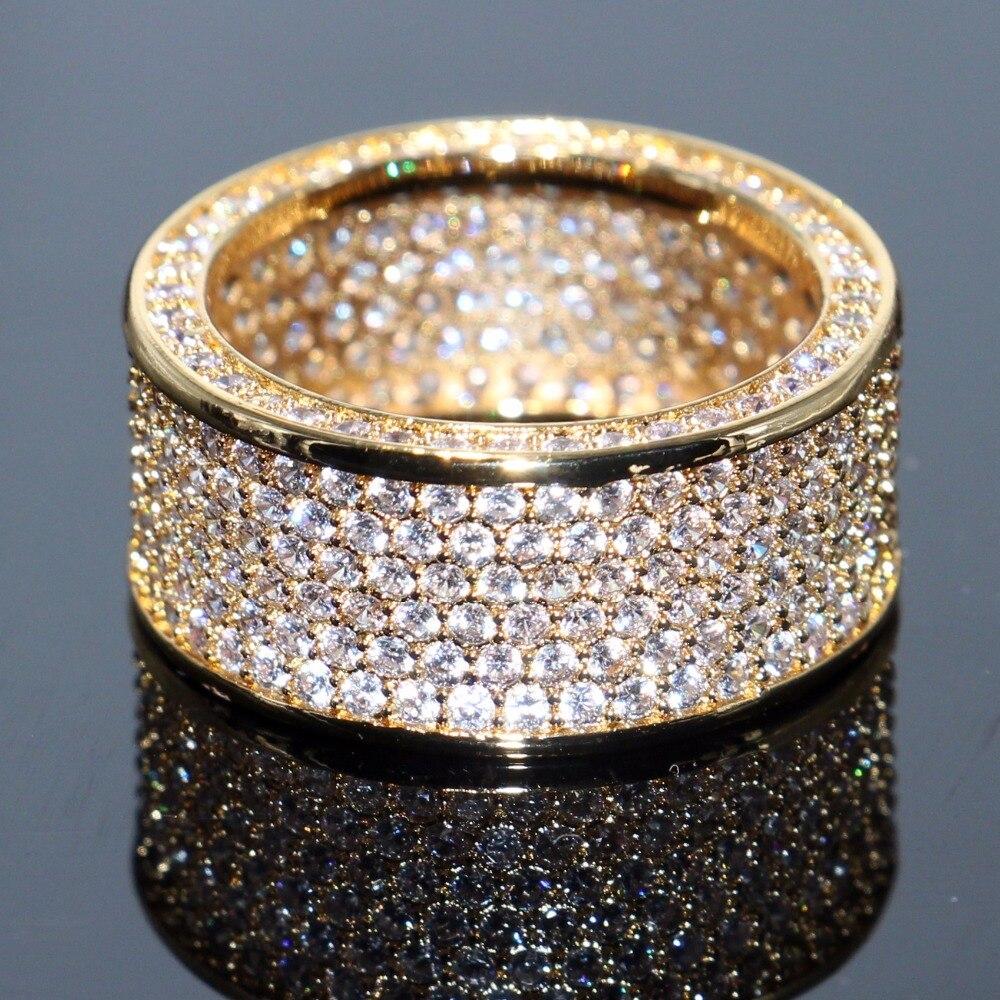 Choucong Marque Nouvelle De Luxe Bijoux 10KT Jaune Or Rempli Superbe Plein Blanc Clair 5A Cubique Zircone CZ Femmes De Mariage Bande anneau