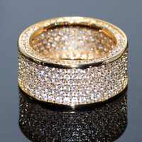 Choucong tout nouveau bijoux de luxe 10KT or jaune rempli superbe blanc clair 5A cubique zircone CZ femmes bague de mariage