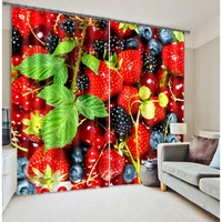 Strawberry 3d curtain fabric