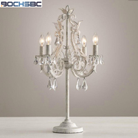BOCHSBC Classical French Crystal Table Lamp Vintage Craft Iron Led Lights for Bedroom Study Room Lampada Led Multiple Paint
