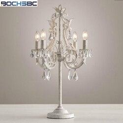 BOCHSBC klasyczny francuski kryształ lampa stołowa w stylu Vintage Craft żelaza Led oświetlenie do sypialni pokój do nauki Lampada doprowadziły wielu farby