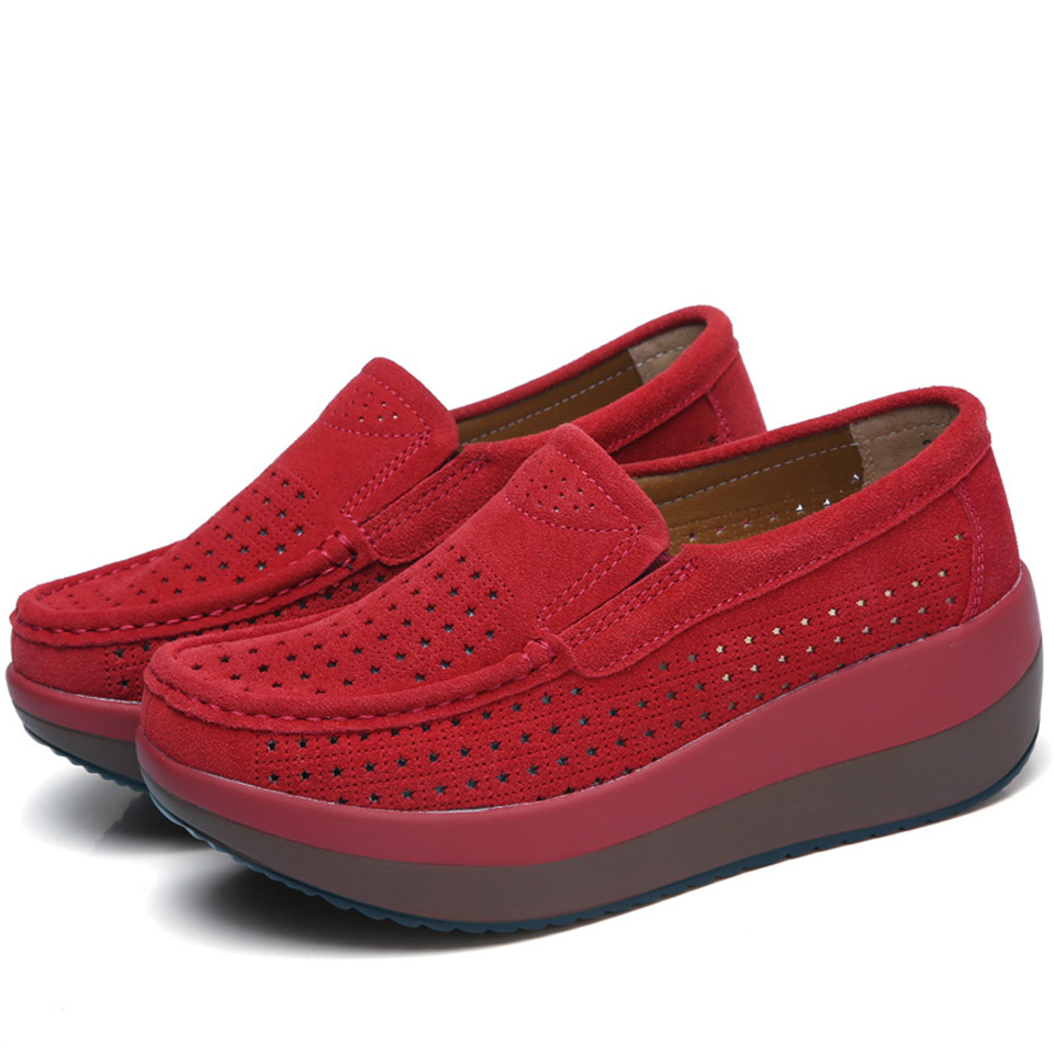 Elegant Suede Leather Slip On Women's Casual Shoes