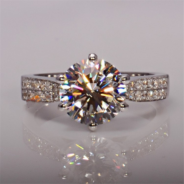 solitaire ring 925 Sterling silver Round 3ct AAAAA Cubic Zirconia Engagement Wedding Band Rings for women men Finger Jewelry