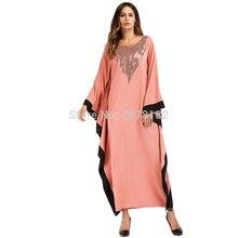 2761cffa30 Pomarańczowy Bat Rękawem Islamski Ubrania Abaya Odzież Turecki Islamski  Odzież Muzułmańskich Kobiety Sukienka Big Batwing Rękawe.