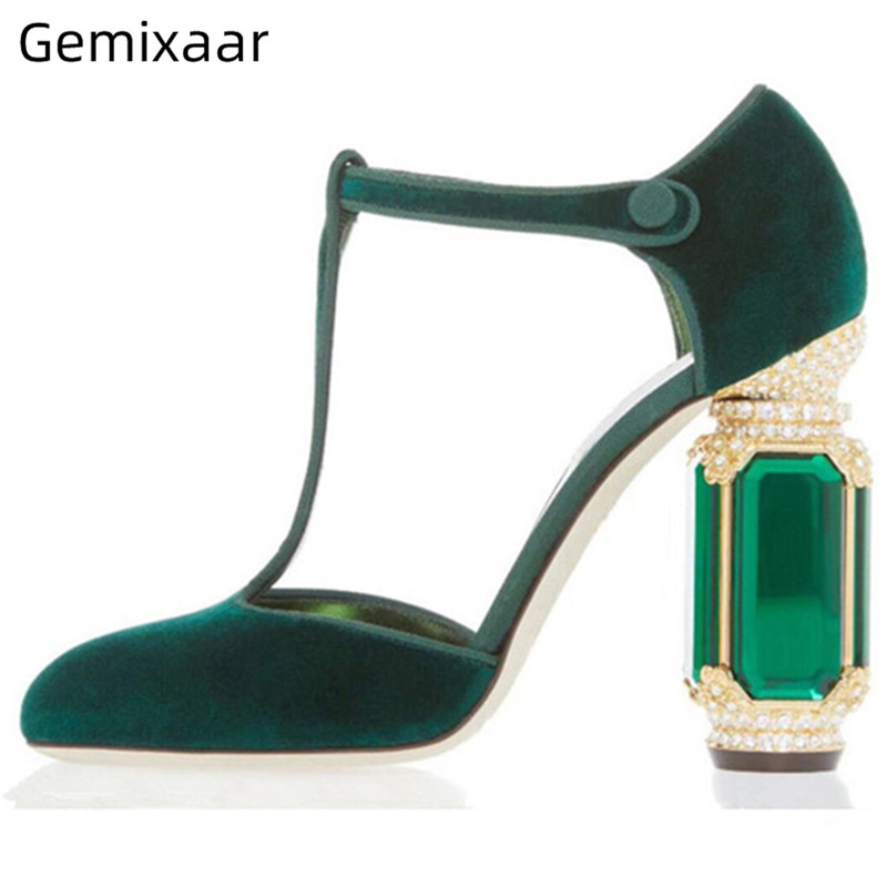 Diamond Chunky Heel Banquet Shoes Woman Luxury Velvet Side Cut Outs T-strap Round Toes Rhinestone Heel Women Pumps