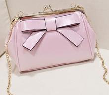 2015 Vintage Small Cute Girl's Messenger Bags One Shoulder Bag  Elegant Women's Bow Clip Chain Bags
