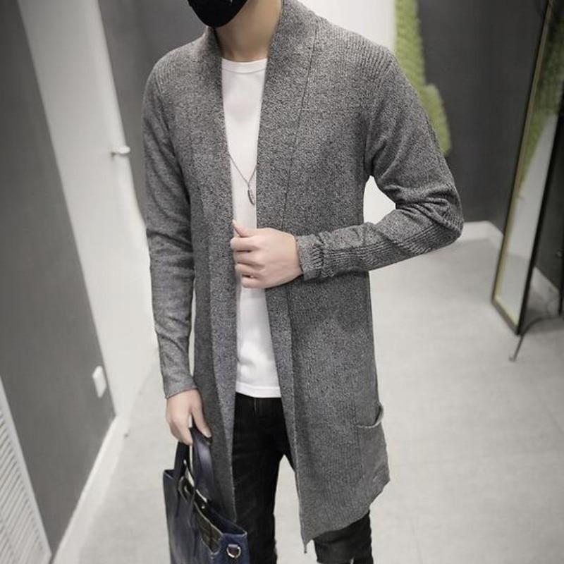 2019 New Fashion Mens Cardigan Slim Fit Wool Long հագուստ - Տղամարդկանց հագուստ - Լուսանկար 4