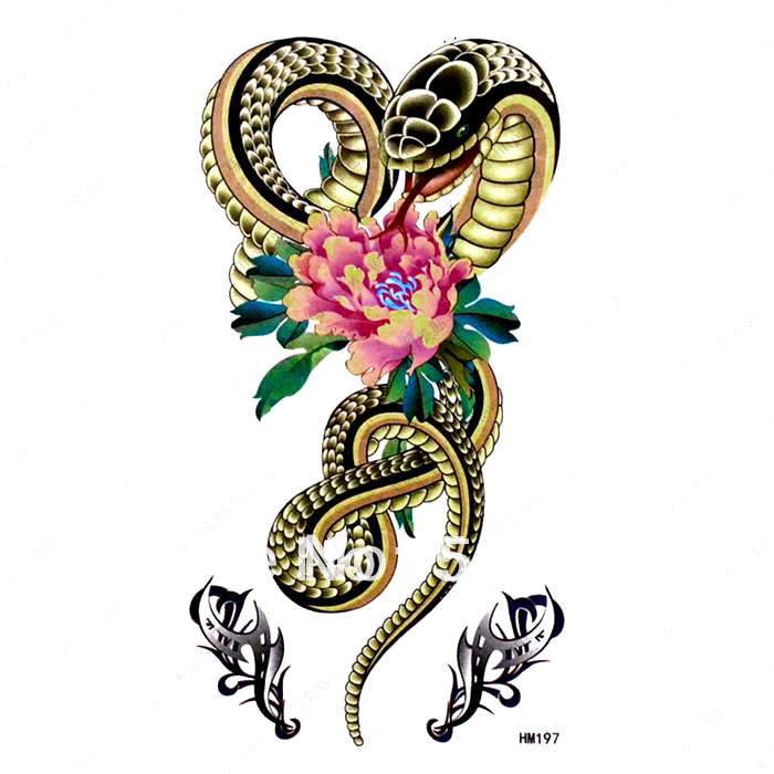 Free Ship 5pcs Lot Hm197 Temporary Snake Tattoos Arm Waist