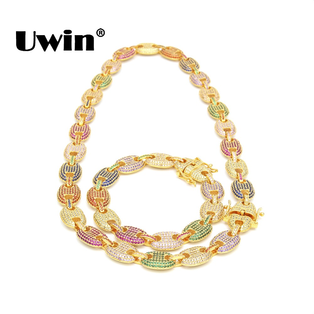 Uwin 13mm Necklace& Bracelet Set Puffed Marine Chain Fat Links Chain Micro Pave Rainbow Colorful Cubic Zirconia Men Jewelry set