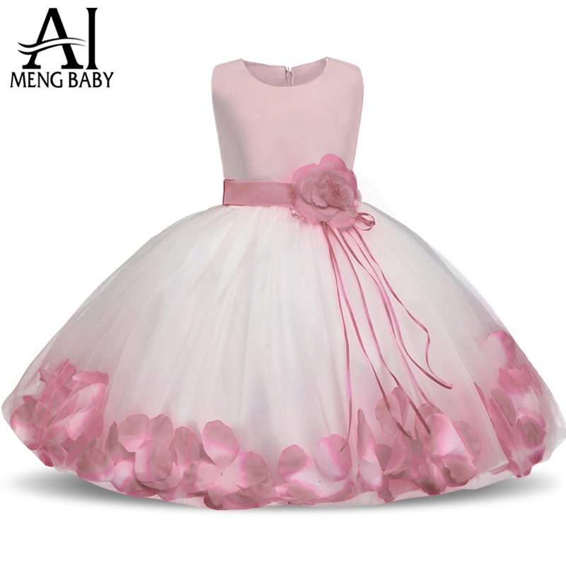 Ai Meng Baby Flower Baby Girl Christening Gown Baptism Clothes Newborn Baby Girl 1 Year Birthday Dress Infant Party Dresses Wear