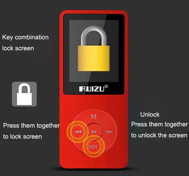 2017 New Arrive Ultrathin 4gb MP3 Player 1.8 Inch Screen Can Play 80 hours,Original RUIZU X02 With FM,E-Book,Clock,Data(Red)