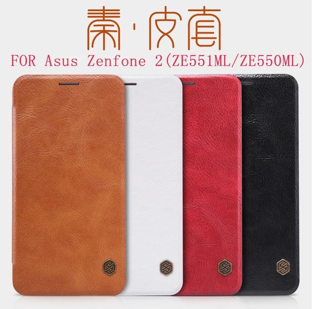 Nillkin qin series leather case para asus zenfone 2 5.5 polegadas (ze551ml/ze550ml) marca de luxo capa protetora com pacote de varejo