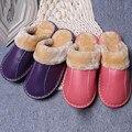 Натуральная Кожа Крытый Обувь Любителей Зимних Мужчины Женщины Домашние Тапочки Плюшевые Меховые Зимние Тапочки Шлепанцы Плюс Размер