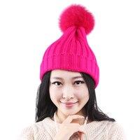 Female Winter Hat Real Fox Fur PomPoms Ball Women S Winter Hats Knitted Pattern Beanies Ladies