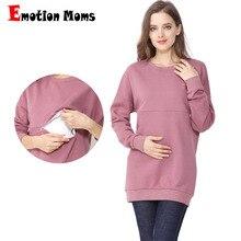 Зимняя хлопчатобумажная одежда для беременных с длинным рукавом, топ для кормления грудью, топы для беременных женщин, Футболка для беременных