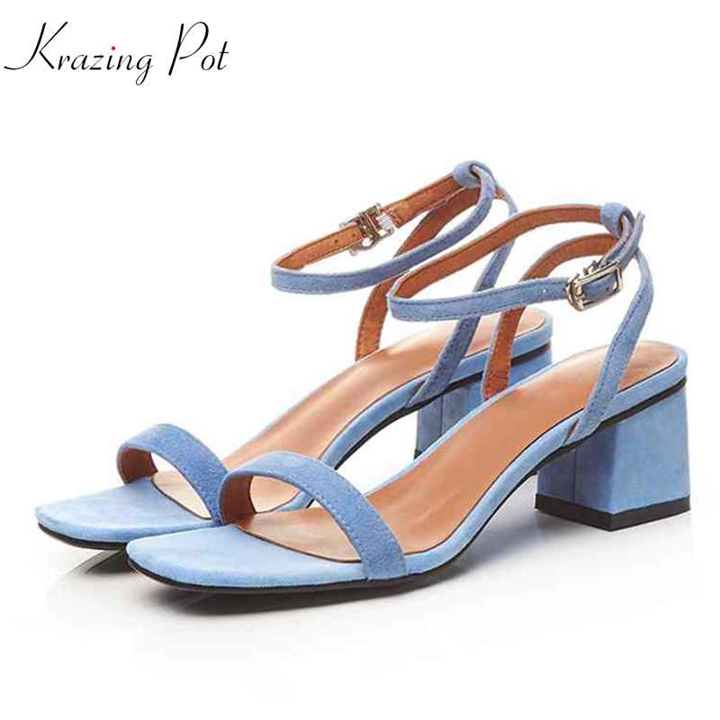 Krazing pot kid suede new buckle fashion women square heel sandals decoration high heels simple all match solid summer shoes L38Krazing pot kid suede new buckle fashion women square heel sandals decoration high heels simple all match solid summer shoes L38